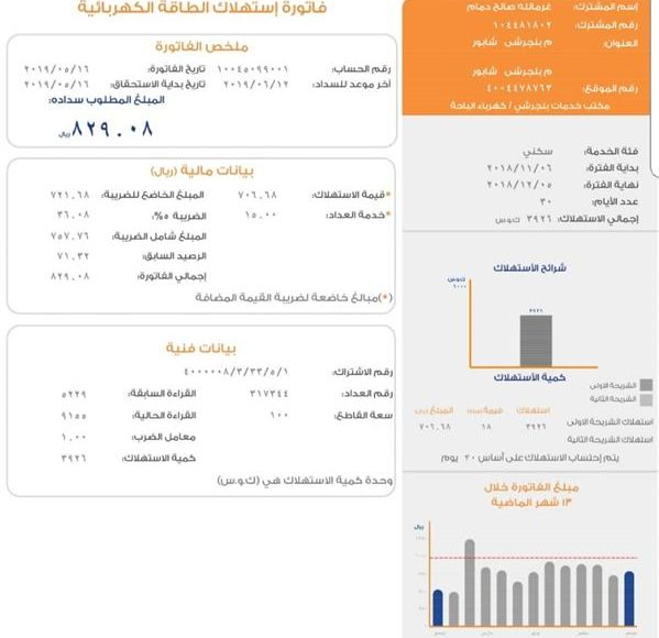 الشركة السعودية للكهرباء تطلق فاتورة الخدمة الكهربائية بشكلها الجديد